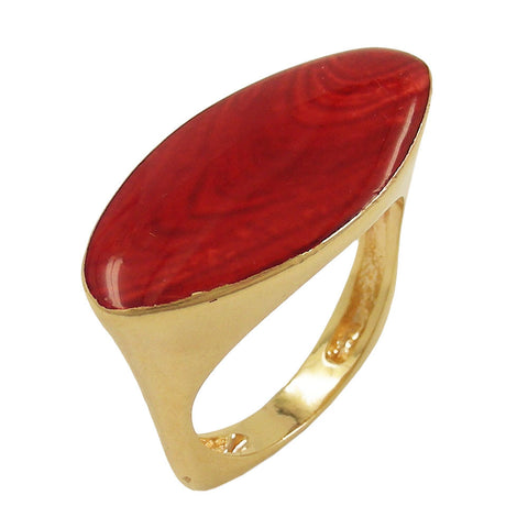 RING RED MARBLED 18K GOLD PLATED