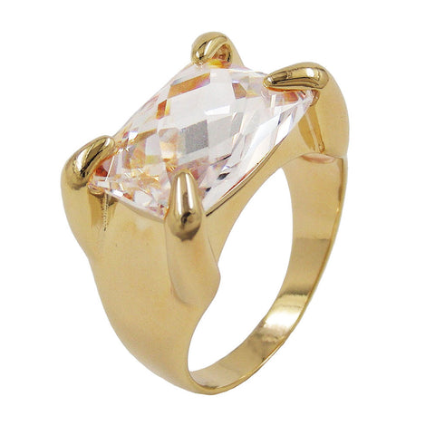 RING 14X10MM 18K GOLD PLATED ZIRCONIA