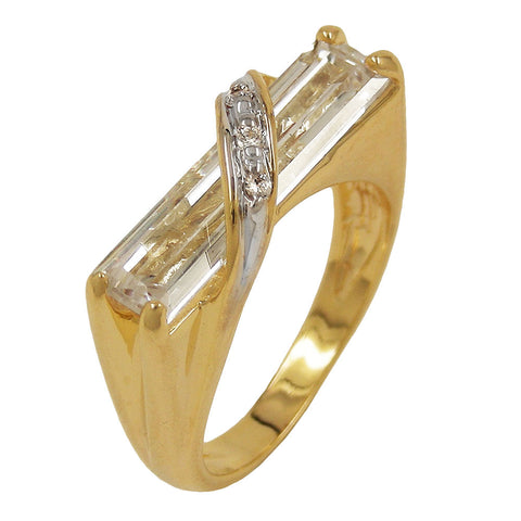 RING 7MM 18K GOLD PLATED CUBIC ZIRCONIA