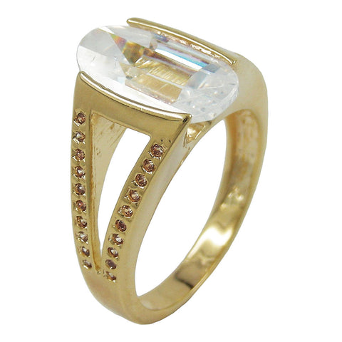 RING 18CT GOLD PLATING 14MM ZIRCONIA