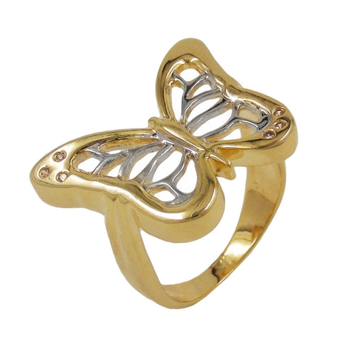 RING 18CT GOLD PLATED BUTTERFLY