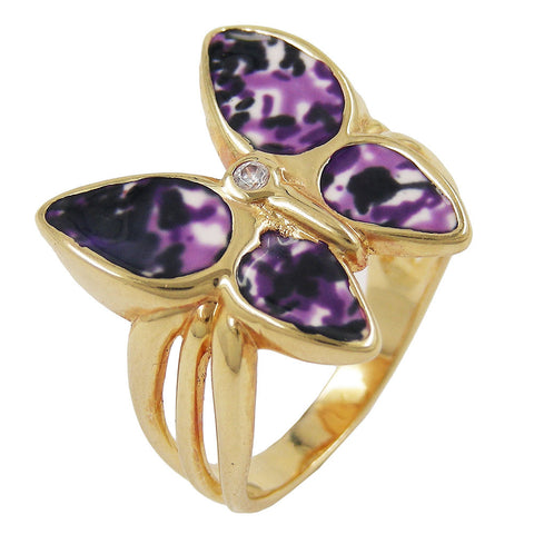 RING 18CT GOLD PLATED BUTTERFLY ZIRCONIA