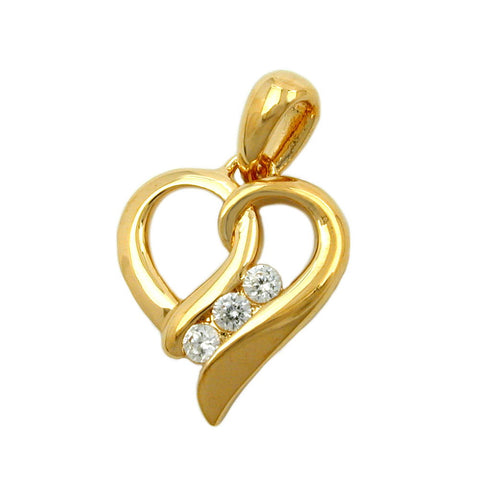 PENDANT HEART WITH ZIRCONIA 3 MICRON GOLD-PLATED
