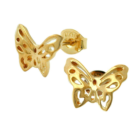 STUD EARRINGS BUTTERFLIES 3 MICRON GOLD PLATING