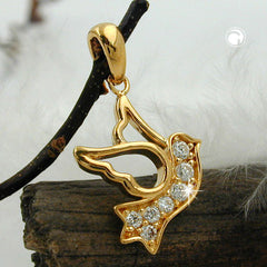 PENDANT DOVE OF PEACE ZIRCONIA 3 MICRON GOLD-PLATED