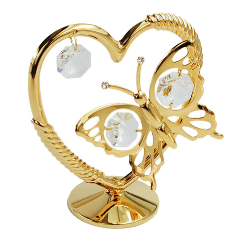 Heart with butterfly with crystal elements