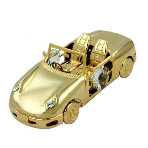 Sports car with crystal elements gold plated