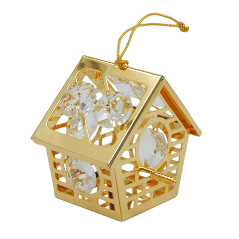 Bird house with crystal elements gold plated