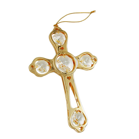 Cross with crystal elements gold plated