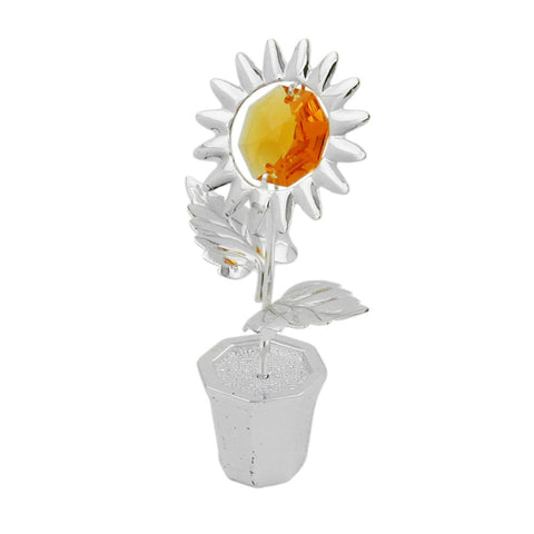 Sunflower with crystal elements silver plated