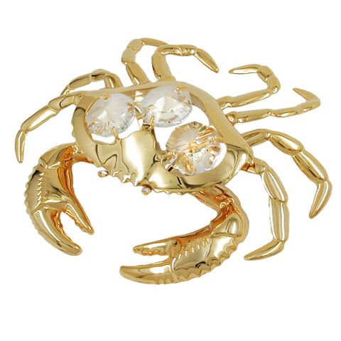 Crab with crystal elements gold plated