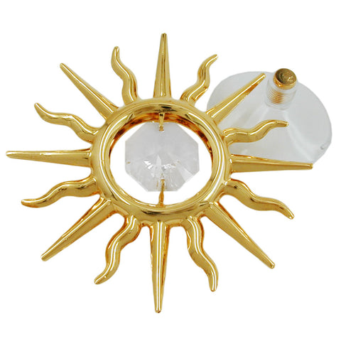 Suncatcher sun with crystal elements gold plated