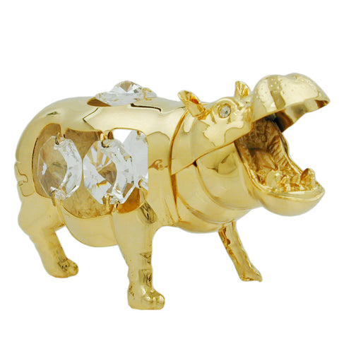 Hippopotamus with crystal elements gold plated