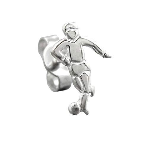 STUD EARRING FOOTBALL PLAYER SILVER 925