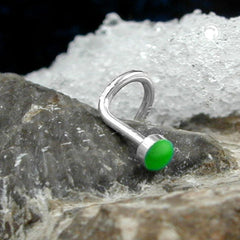 NOSE SCREW GREEN ENAMEL SILVER 925