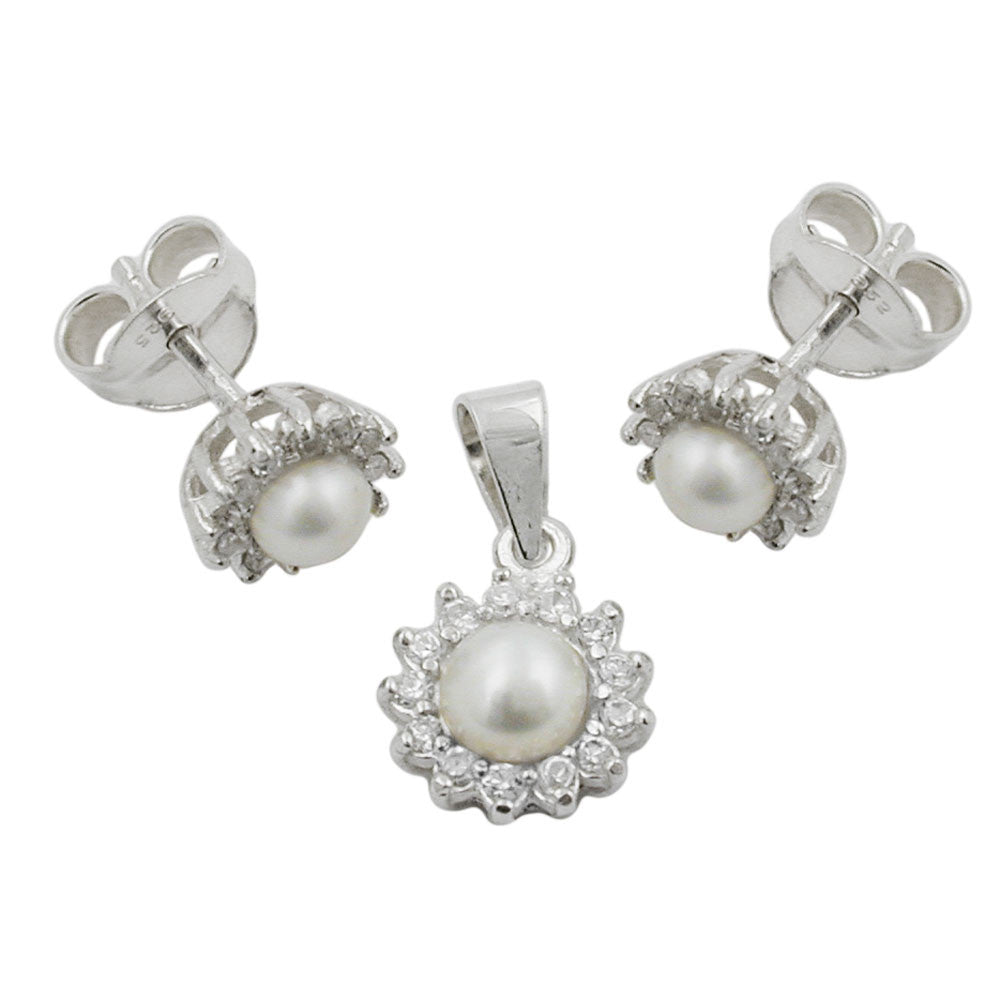 A SET OF EARRINGS AND PENDANT SILVER 925