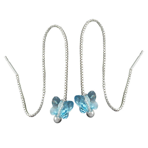CHAIN EARRINGS BLUE BUTTERFLY SILVER 925