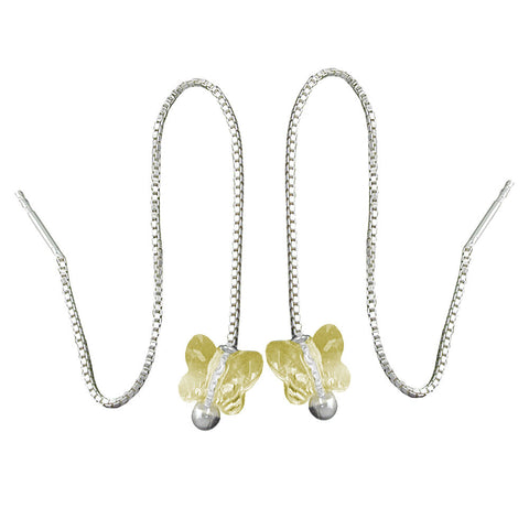 CHAIN EARRINGS YELLOW BUTTERFLY SILVER 925