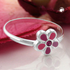 RING FOR CHILDREN PINK FLOWER SILVER 925 (46)