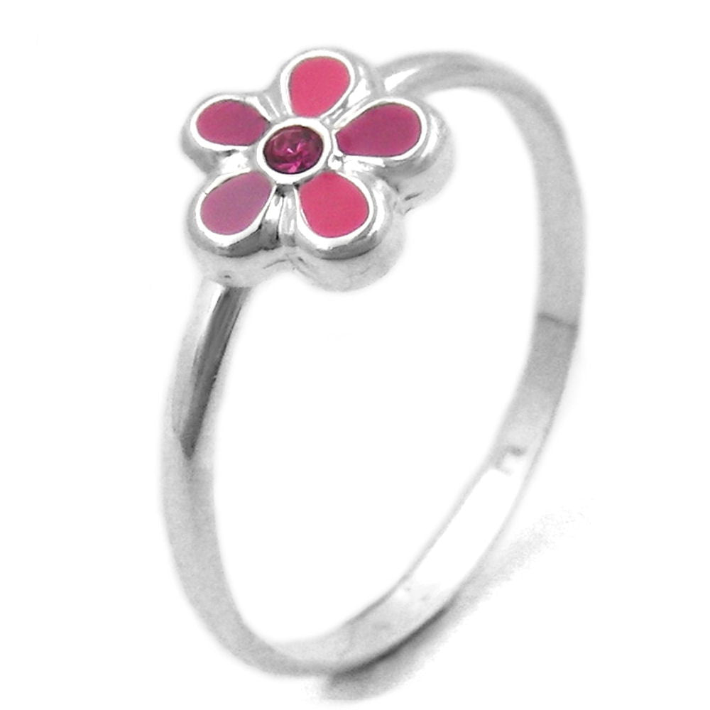 RING FOR CHILDREN PINK FLOWER SILVER 925