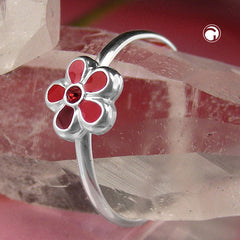 RING FOR CHILDREN RED FLOWER SILVER 925 (46)