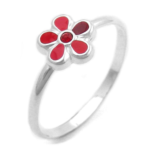 RING FOR CHILDREN RED FLOWER SILVER 925
