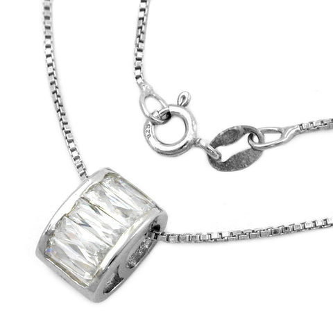 NECKLACE WITH ROUND PENDANT ZIRCONIA SILVER 925