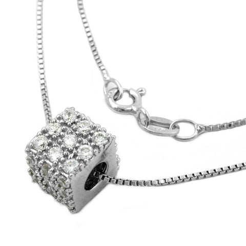 NECKLACE WITH CUBIC PENDANT ZIRCONIA SILVER 925