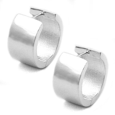 HOOP EARRINGS 18X10MM FOR MEN SILVER 925