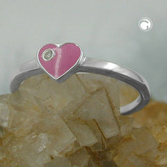 RING HEART-PINK ZIRCONIA SILVER 925 (46)
