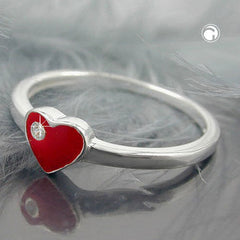 RING RED HEART WITH ZIRCONIA SILVER 925