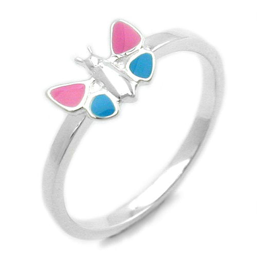 RING PINK/BLUE BUTTERFLY SILVER 925