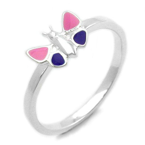 RING BUTTERFLY PINK PURPLE SILVER 925