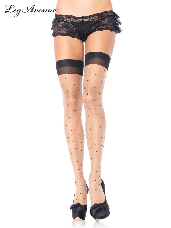Spandex Polka dot thigh high stockings (Plus)