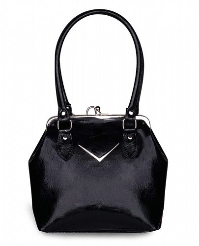 Black Chevron Kiss lock Handbag
