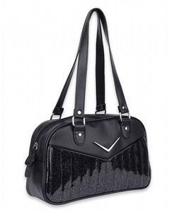 Black Chevron bowler bag