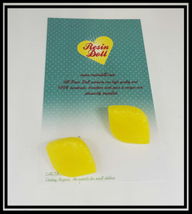 Yellow Vintage Lemon dome stud