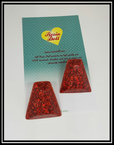 Red glitter deco stud