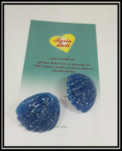 Blue glitter lrg shell dome stud