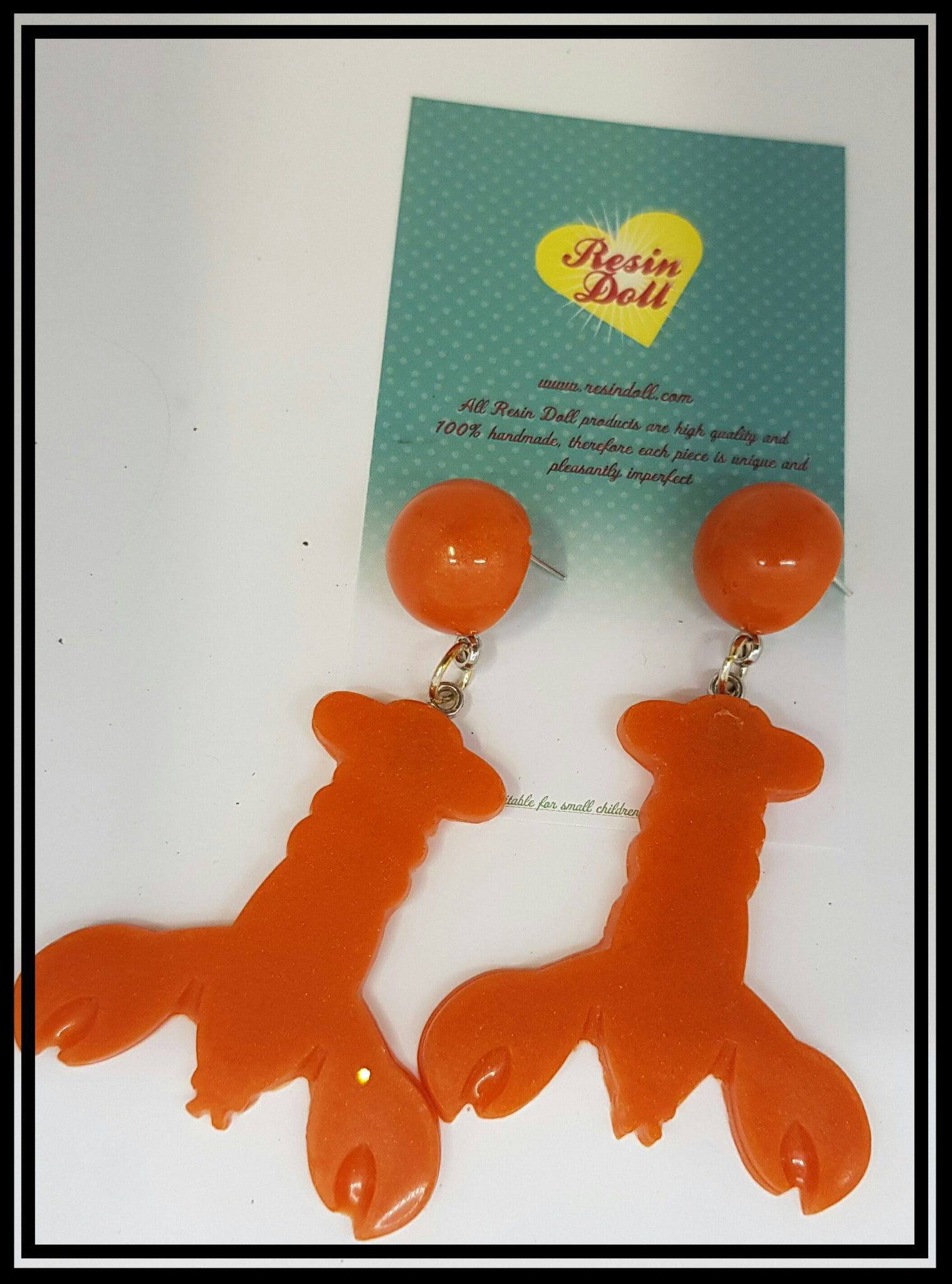 Dark orange lrg  lobster drop earrings