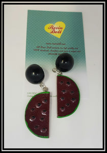Dark watermelon drop earrings