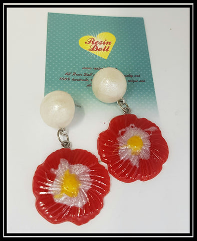 Red pansy drop earrings