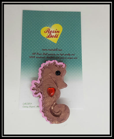 Smoky pink glitter seahorse Brooch