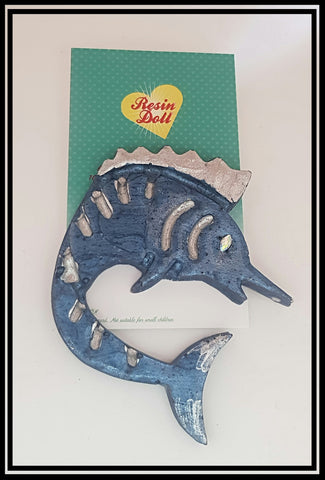 Blue grey marlin Brooch