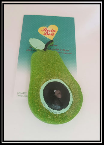 Bright green glitter Avo Brooch