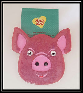 Dark pink pig Brooch