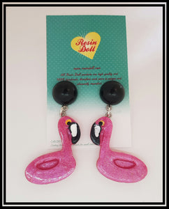 Flamingo floaty drop earrings
