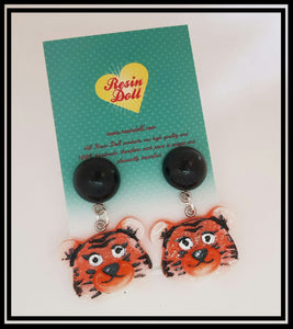 Two tone Tiger drop earrings