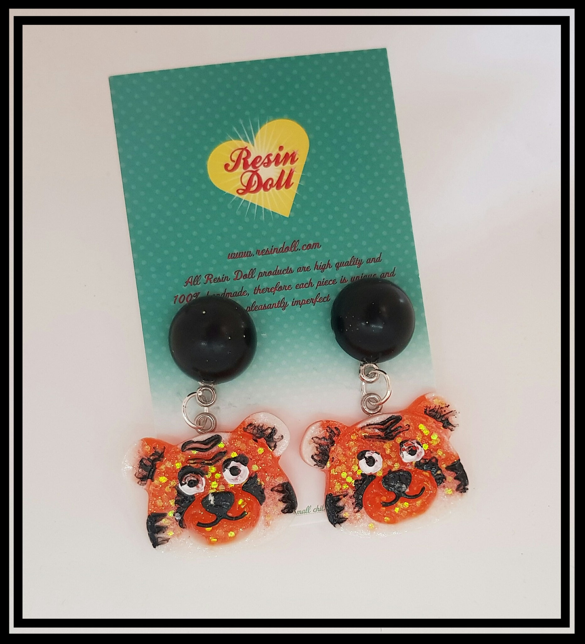 Two tone glitter Tiger drop earrings