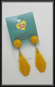 Yellow Pointed drop earrings